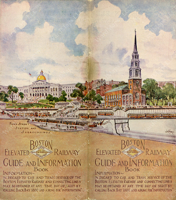 Boston Elevated Railway Guide and Information Book Cover 1926