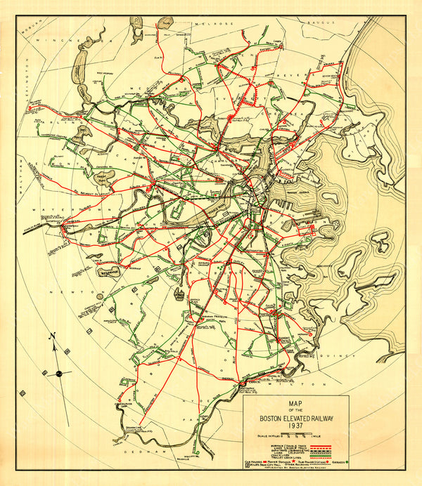 Boston Elevated Railway System Map 1937