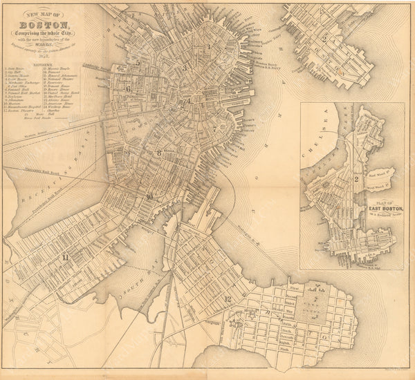 Boston Directory Map of Boston, Massachusetts 1857