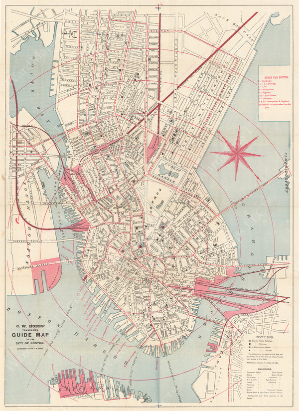 Horse Railroad Lines in Downtown Boston, Massachusetts 1880