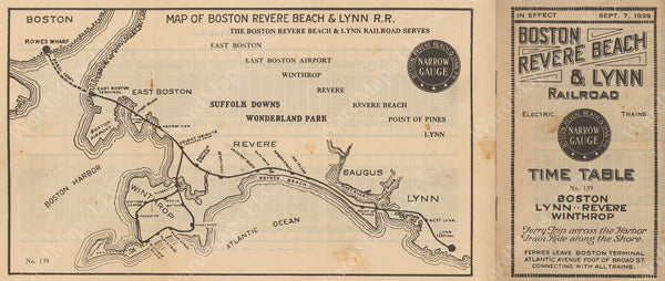 Boston, Revere Beach & Lynn Railroad Timetable #139, 1939