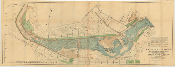 Charles River Dam Report 1903: Contour Map of Lower Basin 1902