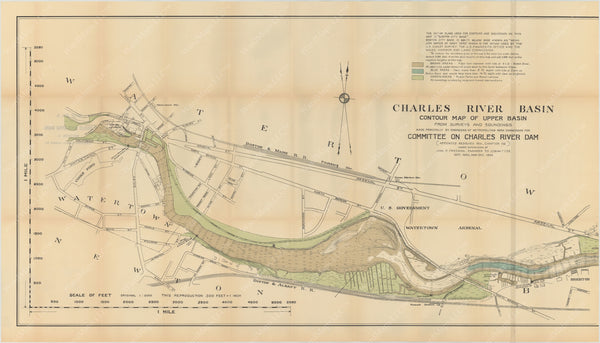 Charles River Dam Report 1903: Contour Map of Upper Basin 1902 (Left Half)