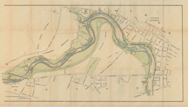 Charles River Dam Report 1903: Contour Map of Upper Basin 1902 (Right Half)
