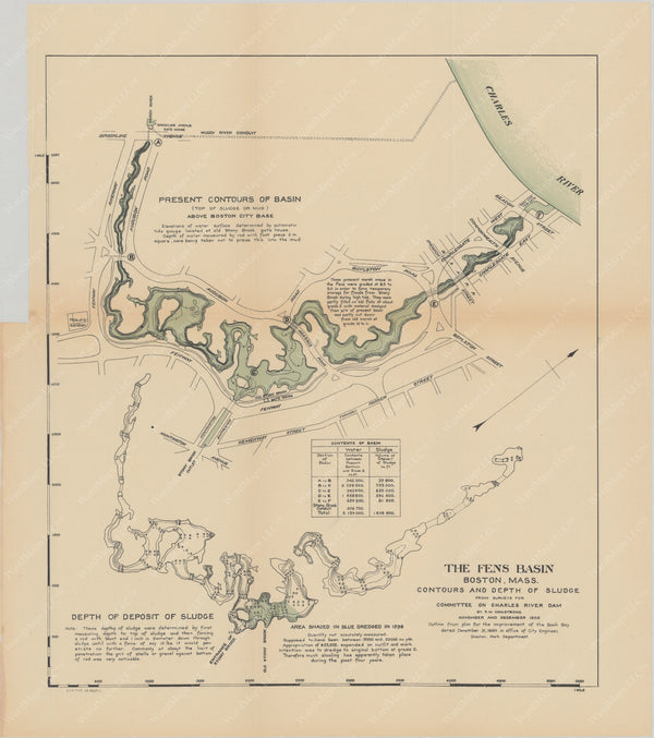 Charles River Dam Report 1903: Sludge in Fens Basin, Boston 1902