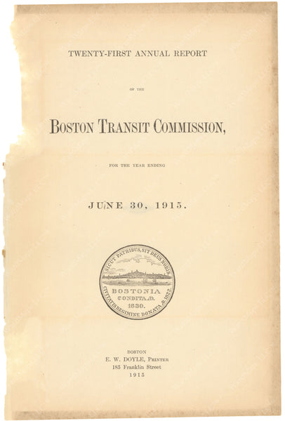 BTC Annual Report 21, 1915: Title Page
