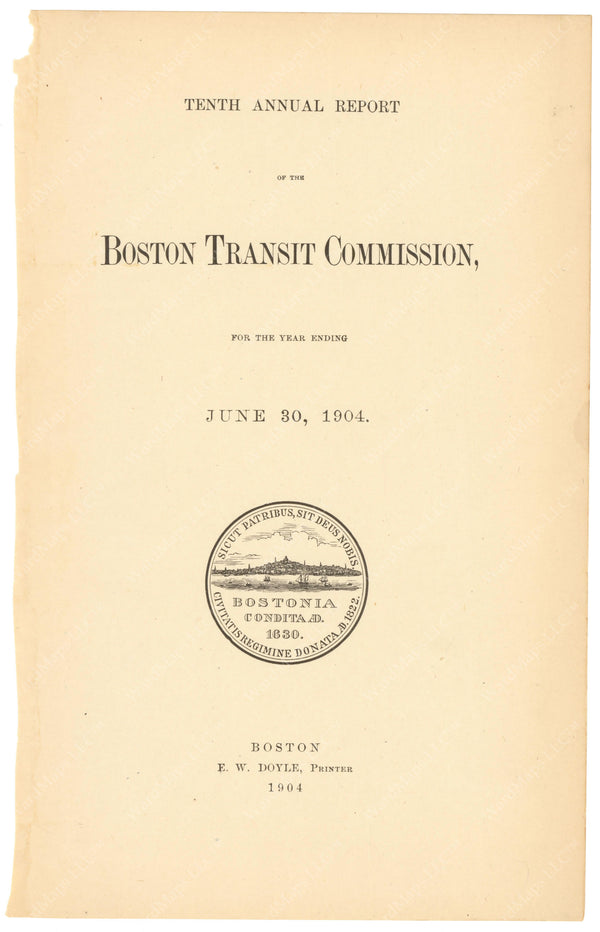 BTC Annual Report 10, 1904: Title Page