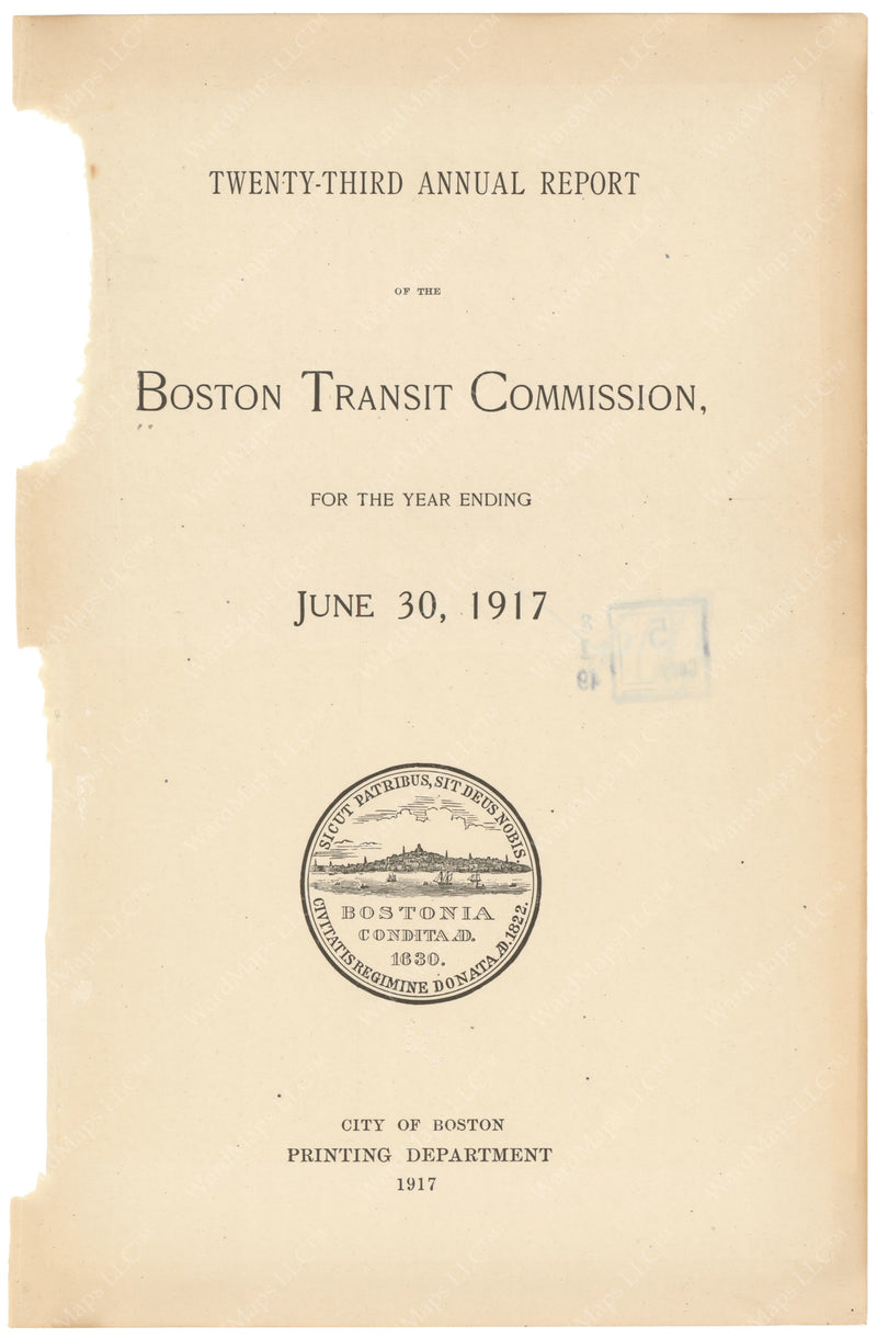 BTC Annual Report 23, 1917: Title Page