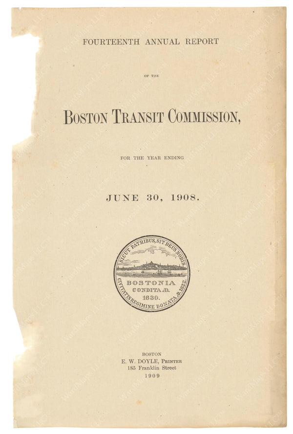 BTC Annual Report 14, 1908: Title Page