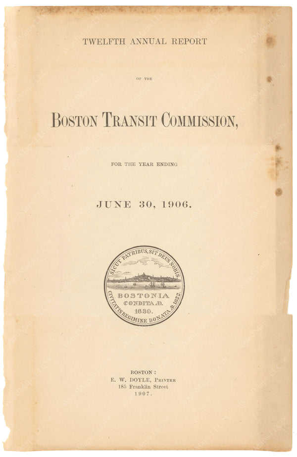 BTC Annual Report 12, 1906: Title Page