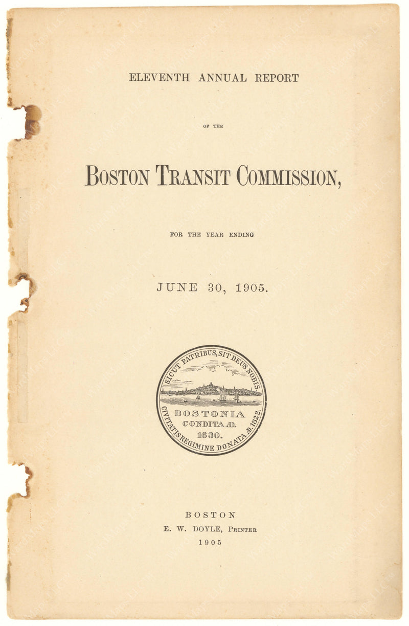 BTC Annual Report 11, 1905: Title Page