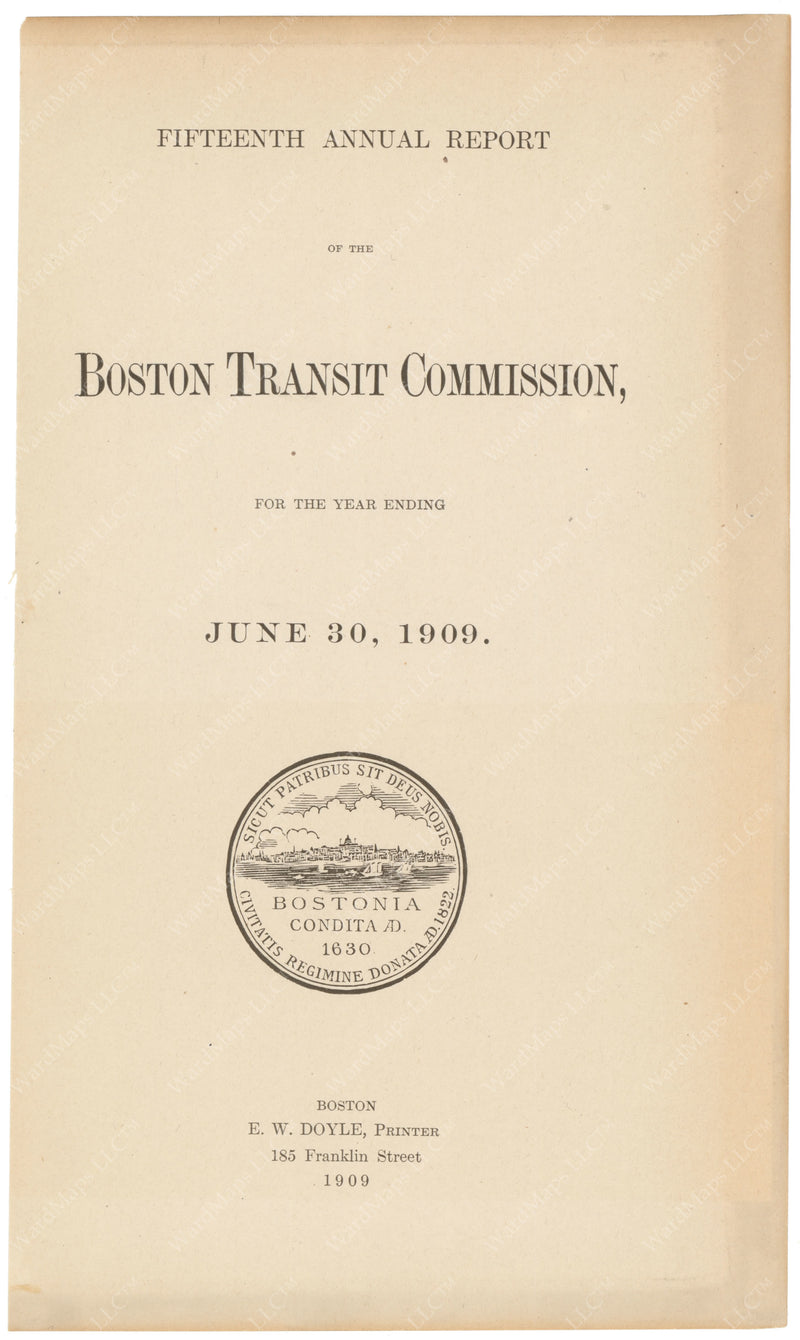BTC Annual Report 15, 1909: Title Page