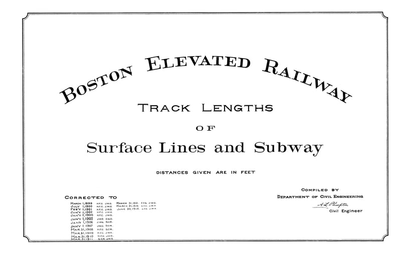 Boston Elevated Railway Co. Track Plans 1915 Title Page