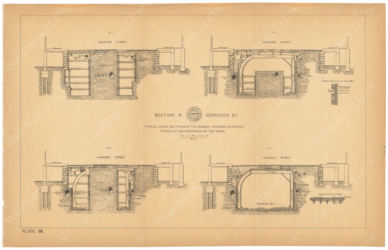 BTC Annual Report 03, 1897 Plate 028: Subway Cross Sections at Hanover Street