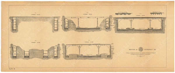 BTC Annual Report 03, 1897 Plate 037: Subway Progression of Work at Haymarket Square