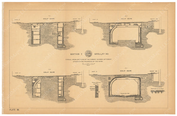 BTC Annual Report 03, 1897 Plate 025: Subway Cross Sections at Scollay Square