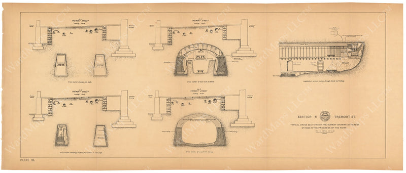 BTC Annual Report 03, 1897 Plate 021: Subway Progression of Work at Tremont Street