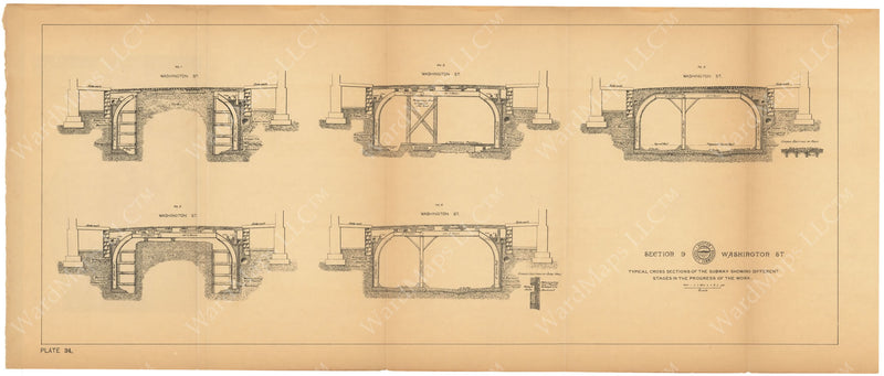 BTC Annual Report 03, 1897 Plate 034: Subway Progression of Work at Washington Street