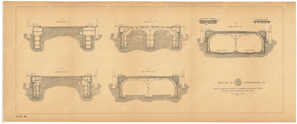 BTC Annual Report 03, 1897 Plate 036: Subway Progression of Work at Washington Street #2