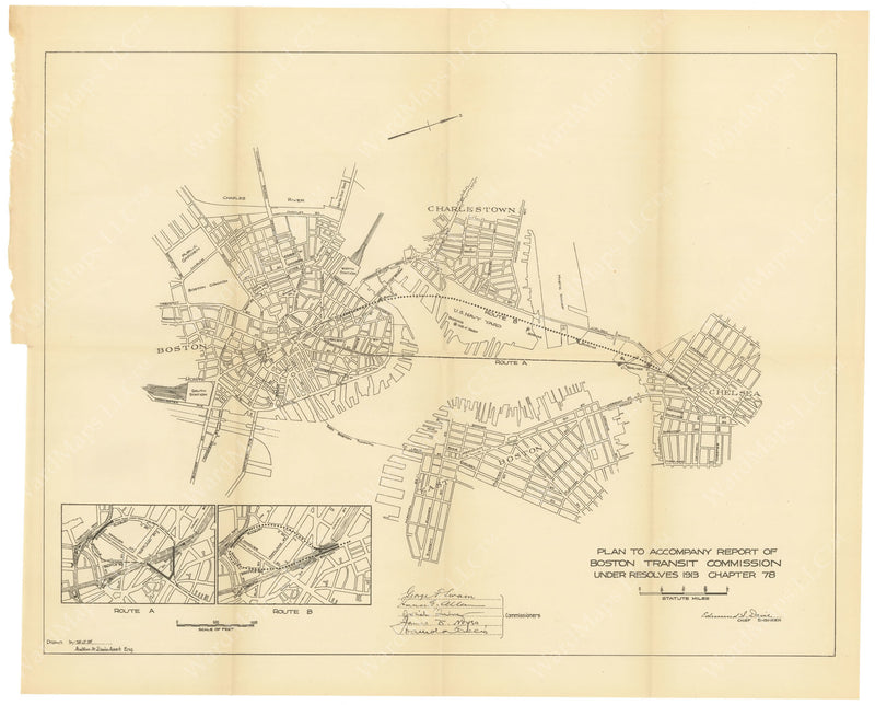 BTC Annual Report 20, 1914: Proposed Chelsea Tunnel Routes