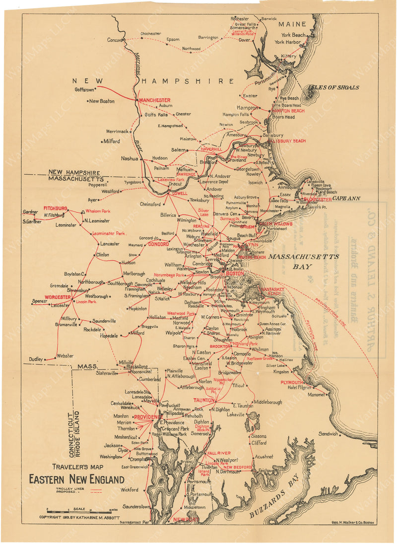 Traveler's Trolley Map of Eastern New England 1901