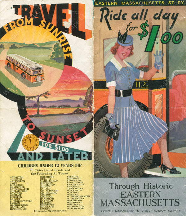 Eastern Mass. Street Railway Co. Brochure Cover Circa 1940