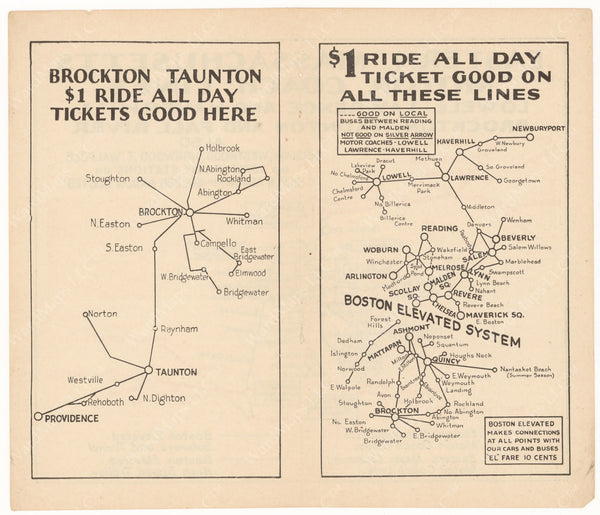 Eastern Mass. Street Railway Co. Maps 1933