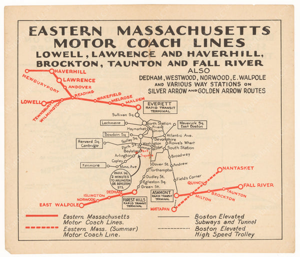Eastern Mass. Street Railway Co. Motor Coach Lines 1933