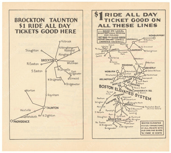 Eastern Mass. Street Railway Co. Maps 1934