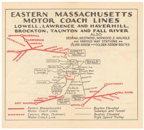 Eastern Mass. Street Railway Co. Motor Coach Lines 1934