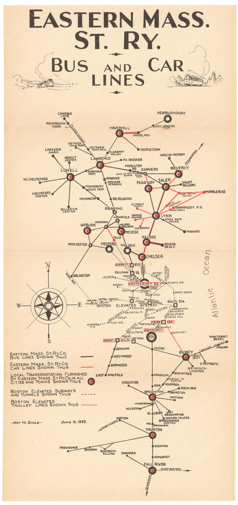 Eastern Mass. Street Railway Co. Bus and Car Lines Map 1935