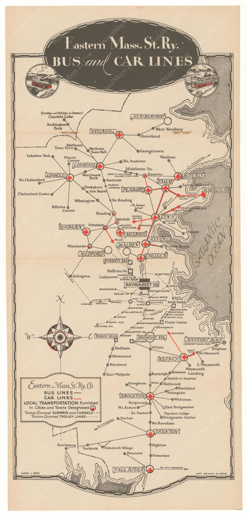 Eastern Mass. Street Railway Co. Bus and Car Lines Map 1936