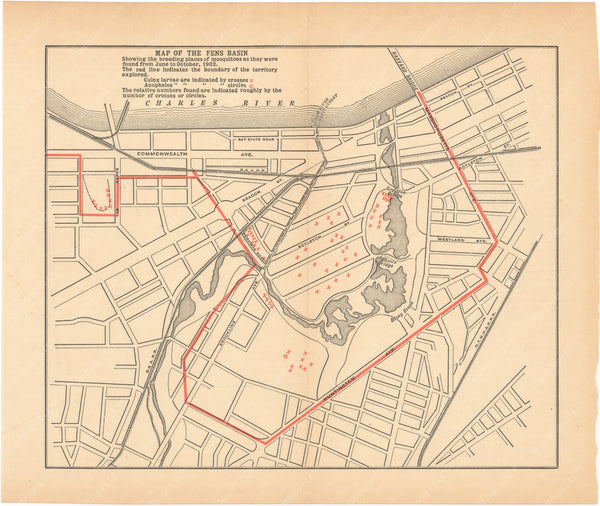 Charles River Dam Report 1903: Mosquito Breeding Places, Back Bay Fens, Boston 1902