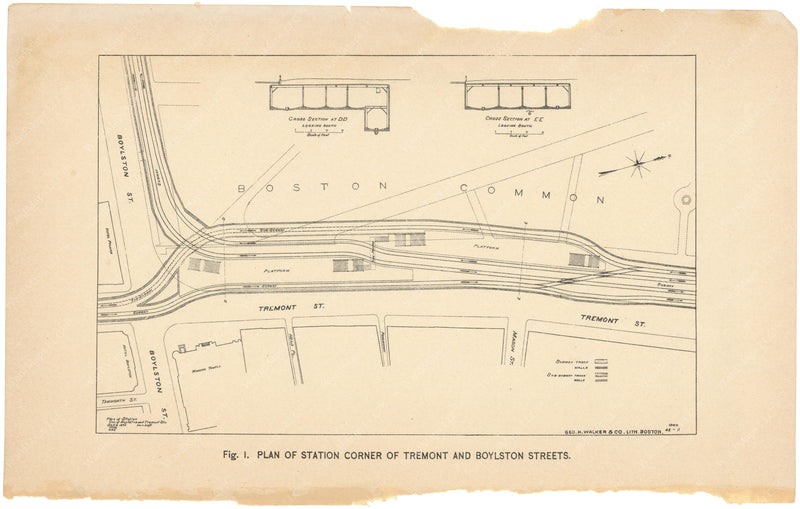 BTC Annual Report 01, 1895 Figure 01: Plan of Boylston Street Station
