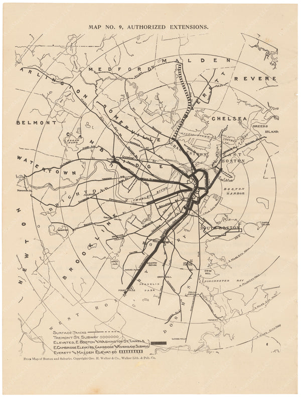 BERy Newspaper Brochure Map 09: Authorized Line Extensions 1910