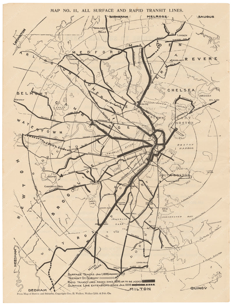 BERy Newspaper Brochure Map 11: All Surface and Rapid Transit Lines 1910