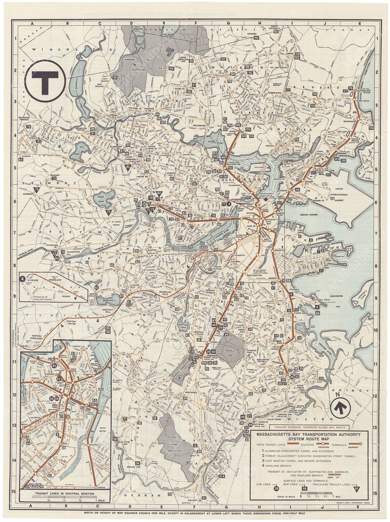 MBTA System Route Map 1966