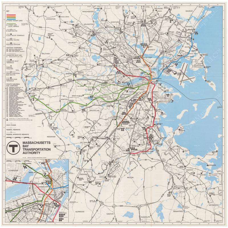 MBTA System Route Map 1967