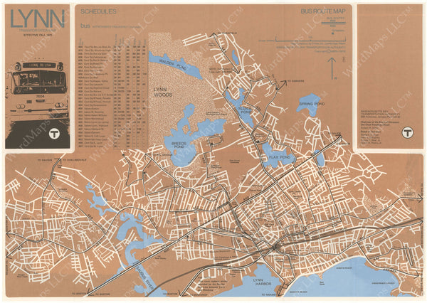 MBTA Lynn Transportation Map 1975