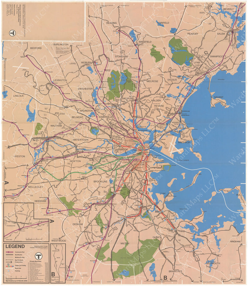MBTA System Route Map 1976 Spring