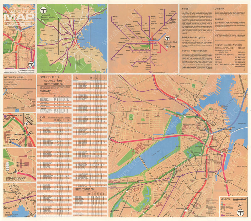 MBTA System Route Map 1976 Summer B-Side