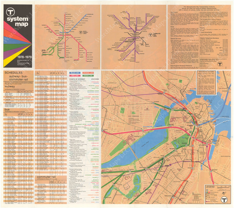 MBTA System Route Map 1978-1979 B-Side