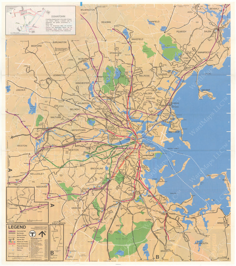 MBTA System Route Map 1978-1979