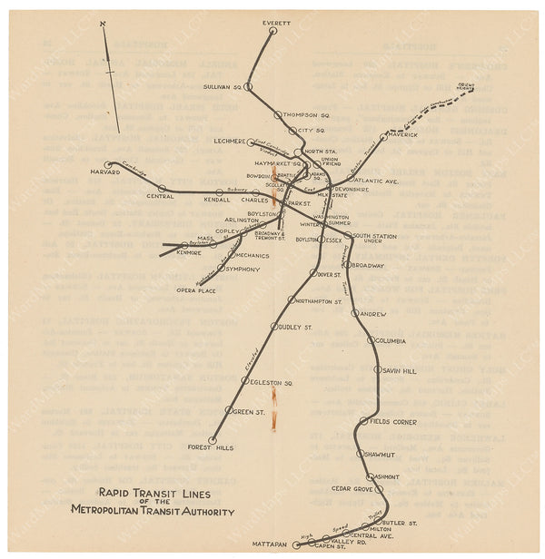 MTA Rapid Transit Lines Map circa late 1940s
