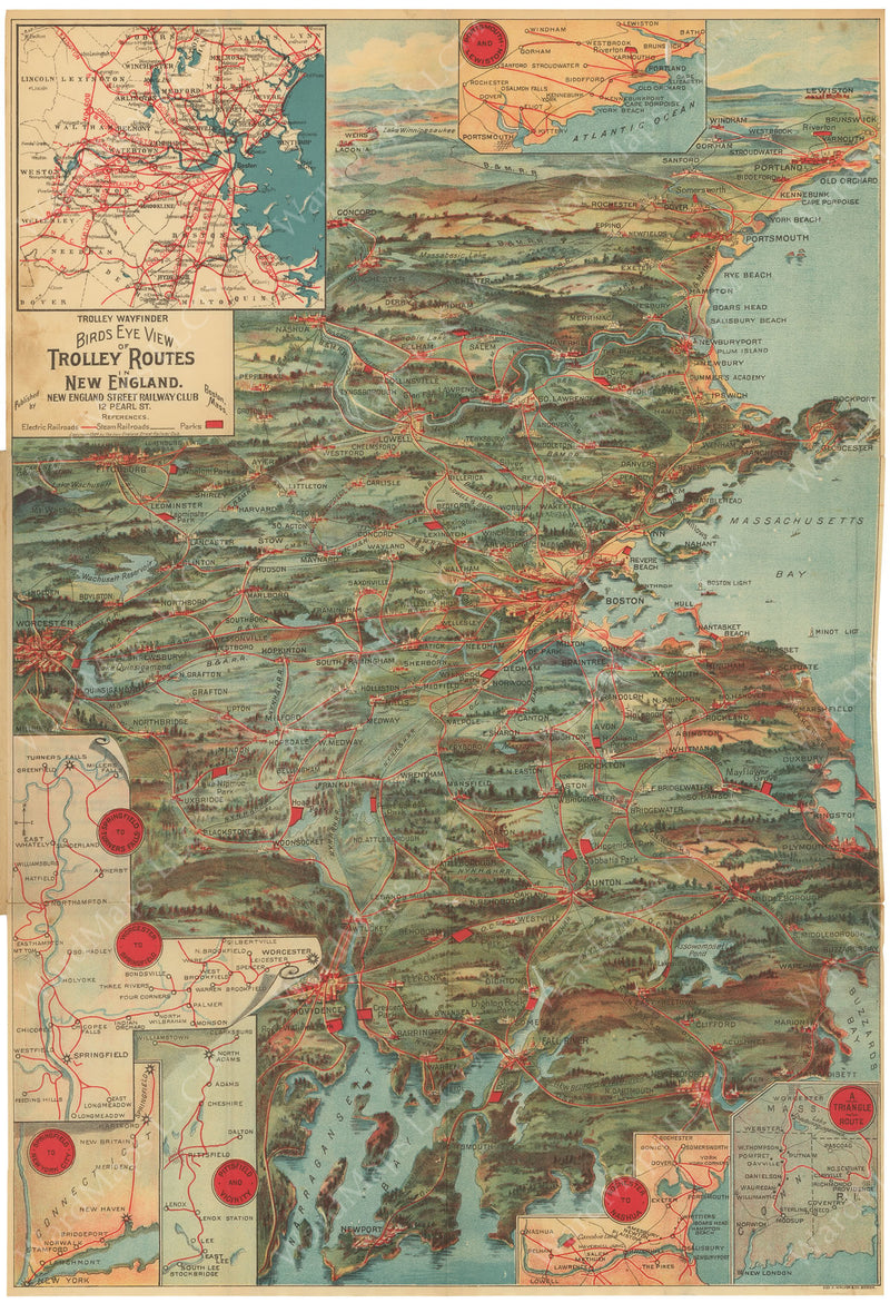 Bird's Eye View of Trolley Routes in New England 1904