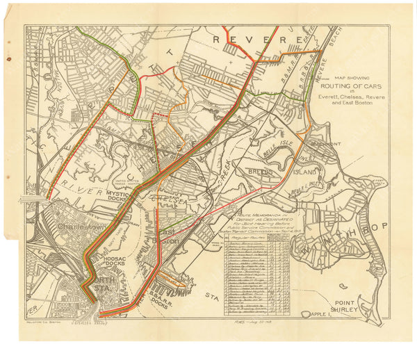 BTC Annual Report 20, 1914: Routing of Streetcars North of Boston