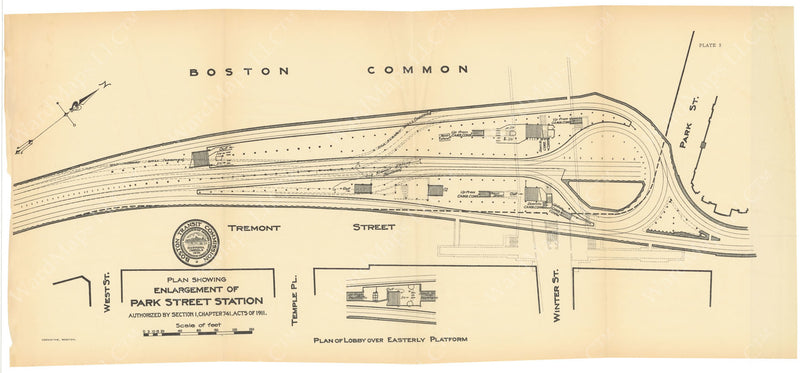 BTC Annual Report 21, 1915 Plate 05: Plan of Enlargement of Park Street Station