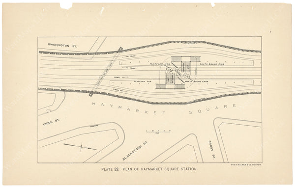 BTC Annual Report 04, 1898 Plate 32: Plan of Haymarket Square Station