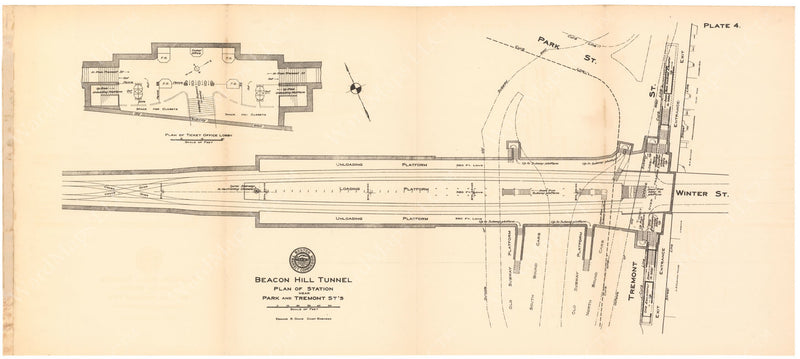 BTC Annual Report 17, 1911 Plate 04: Plan of Park Street Under Station