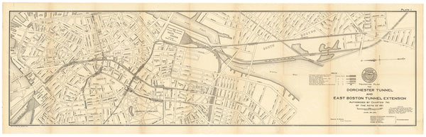 BTC Annual Report 18, 1912 Plate 01: Mapping the Dorchester Tunnel and East Boston Tunnel Extension